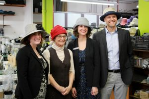 Wearing Lillie & Cohoe hats, from left to right, Michelle Mungall, Liz Cohoe, Andrea Wilkey, and Michael Hoher